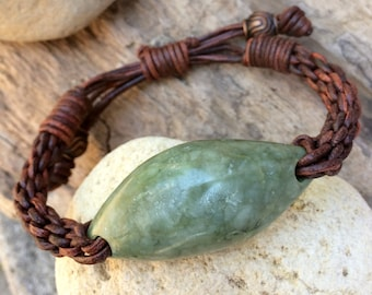 Northern California Botryoidal Jade and Leather Braided Bracelet