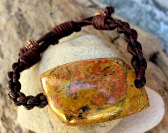 Orbicular Poppy Jasper and Leather Braided Bracelet