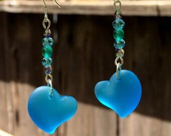 Sea Glass Earrings, Blue Heart Earrings, Sea Glass Heart Earrings