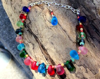 Sea Glass and Stone Anklet