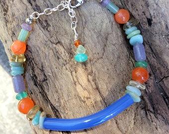 Glass, Agate, Amazonite, Lepidolite, Dyed Jade and Citrine Bracelet
