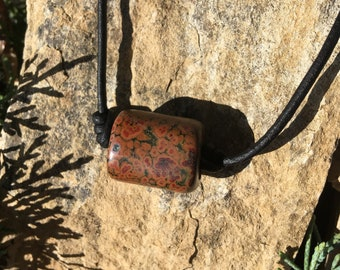 Orbicular Poppy Jasper and Leather Necklace