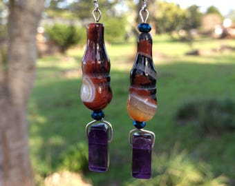 Striped Agate and Amethyst Earrings