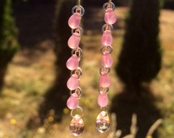 Czech Glass Earrings: Pink Glass Teardrop Earrings