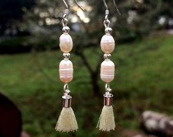 Freshwater Pearl and Tassel Earrings