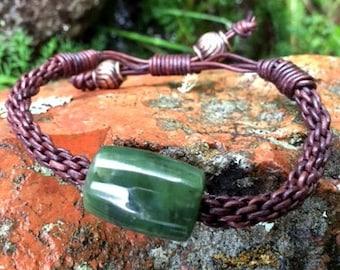 Washington River Jade and Leather Braided Bracelet