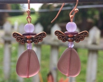 Purple Sea Glass Earrings, Sugar Plum Fairy Earrings, Fairy Earrings, Christmas Earrings