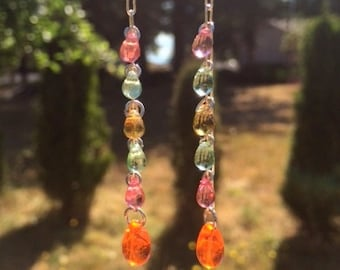 Summer Czech Glass Earrings: Pink, Orange, Green and Yellow Glass Teardrop Earrings