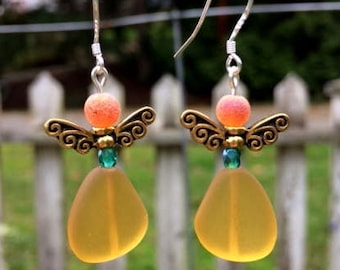 Yellow Sea Glass Earrings, Fairy Earrings