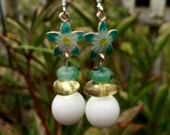 White Quartz, Citrine, Kiwi Jasper and Sterling Silver Enamel Flower Earrings