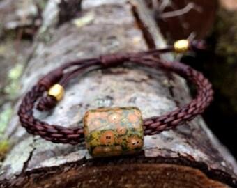 Orbicular Poppy Jasper Bead and Leather Braided Bracelet