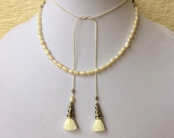 Madam Secretary Pearl and Tassel Necklace, Tea Leoni Necklace, Small Pearl and Small Tassel Necklace