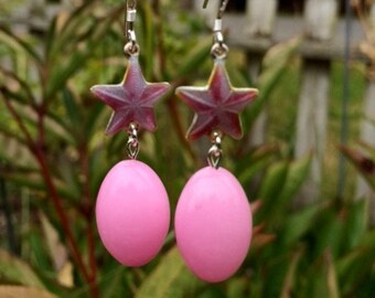 Pink Quartz and Sterling Silver Enamel Star Earrings