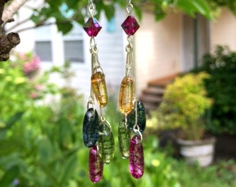 Dyed Quartz Earrings: Hot Pink, Green, Yellow and Blue Quartz Earrings