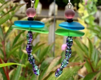 Dragonfly Sea Glass and Czech Earrings