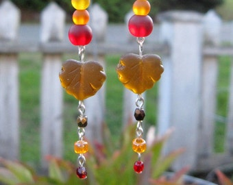 Thanksgiving Earrings, Fall Leaves Earrings, Sea Glass Earrings
