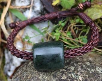 Washington Jade Bead and Leather Braided Bracelet