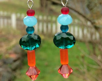 Sea Glass, Swarovski and Glass Earrings