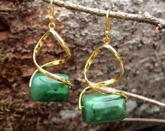 SALE - Alaskan Jade Bead Earrings