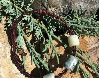 SALE - Washington River Grossular Garnet, California Botryoidal Jade and Leather Braided Bracelet