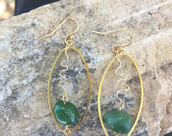 British Columbia Jade and Gold Earrings