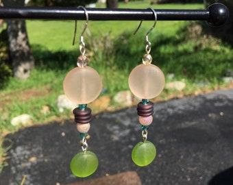 Peach and Green Sea Glass Earrings