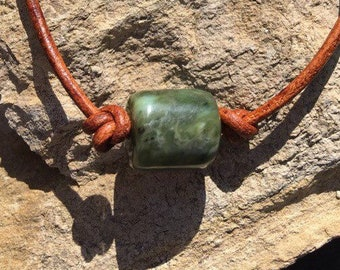 Washington Jade Bead and Leather Bracelet