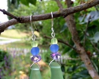SALE - Green Sea Glass Earrings