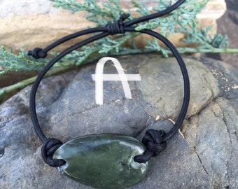 Big Sur Jade and Leather Bracelets