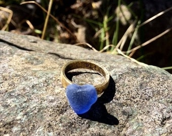 SALE - Genuine Sea Glass Ring, Blue Sea Glass Ring, Natural Heart Ring, Size 6