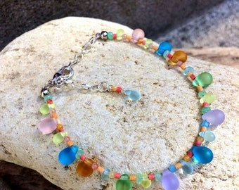 SALE - Sea Glass and Stone Anklet