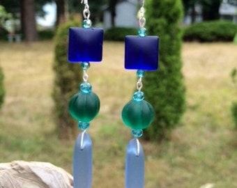 SALE - Sea Glass Earrings: Blue and Green Sea Glass Earrings