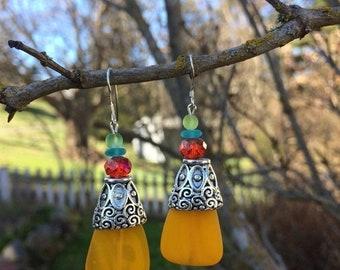 SALE - Yellow Sea Glass Earrings