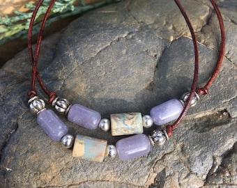 Lepidolite, Jasper and Leather Bracelet