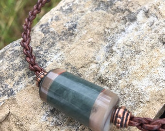 Washington Jade and Cambria Abalone Bead and Leather Necklace