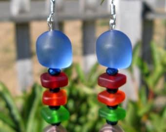 Sea Glass Earrings: Fishbone Earrings