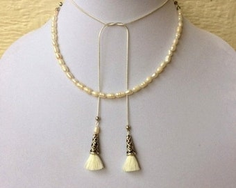 SALE - Madam Secretary Pearl and Tassel Necklace, Tea Leoni Necklace, Small Pearl and Small Tassel Necklace