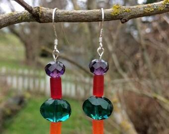 SALE - Sea Glass, Swarovski and Glass Earrings