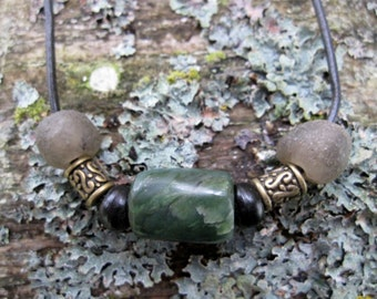 Washington River Jade and African Sea Glass Necklace