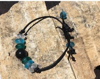 SALE - Obsidian, Sea Glass and Leather Bracelet