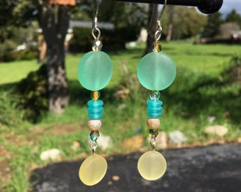 Green and Yellow Sea Glass Earrings