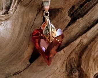 SALE - Red Swarovski Heart Necklace, Valentine's Necklace, .925 Sterling Silver Chain