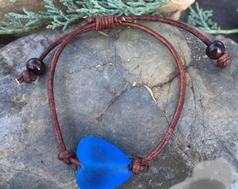 Blue Glass Heart and Leather Bracelet