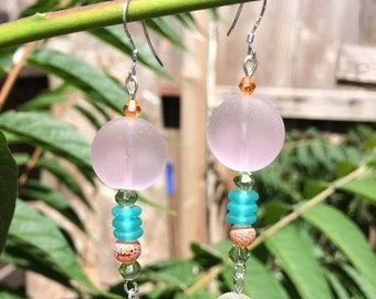 SALE - Pink and White Sea Glass Earrings