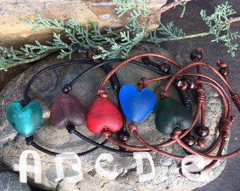 Glass Heart and Leather Bracelets