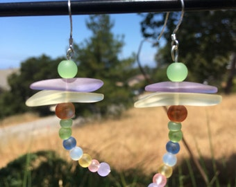 Dragonfly Sea Glass Earrings