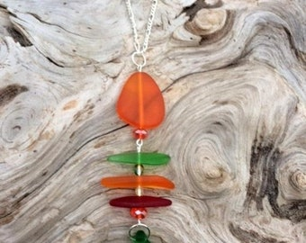 SALE - Sea Glass Necklace Fishbone Necklace Red, Green and Orange Sea Glass Necklace