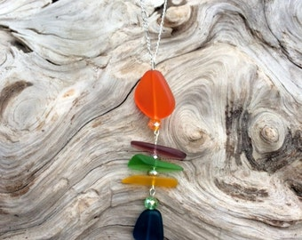 Sea Glass Necklace Fishbone Necklace Blue Green Purple Orange Sea Glass Necklace