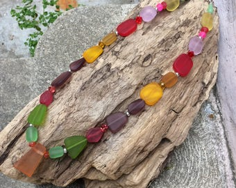 Sea Glass Necklace, Rainbow Glass Necklace