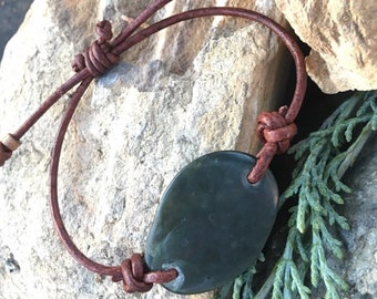 Big Sur Jade and Leather Bracelet